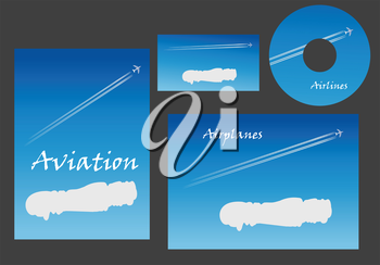 Aviation marketing elements with a white cloud with copyspace and a contrail behind a jet on a blue sky on stationery, business card and CD, vector template illustration