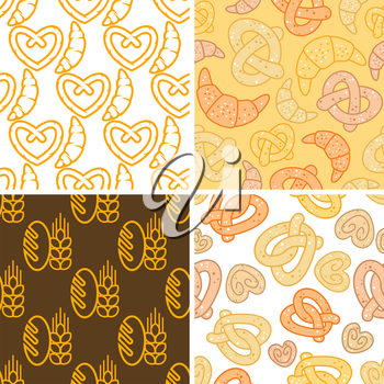 seamless attractive assorted bakery background pattern graphic design in different backgrounds.