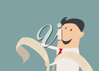 Smiling cartoon businessman character reading a long document with a happy face in flat style