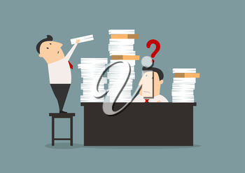 Bemused overworked businessman with his desk stacked high with files being given more work by a colleague standing on a chair, with a question mark
