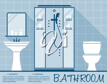 Bathroom design infographic template in flat style in shades of blue of a bathroom interior with toilet, shower and hand basin over editable text space