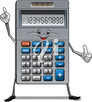 Happy calculator cartoon character with blue and white buttons, solar panel and numbers on the screen suitable for education or finance concept design