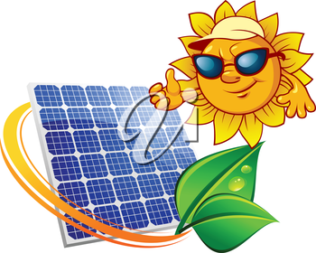 Eco concept in cartoon style depicting blue solar energy panel surrounded yellow sunbeams with fresh green leaves and sun in sunglasses showing thumb up
