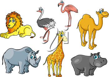 Сute cartoon african wild animals and birds characters including lion, giraffe, flamingo, hippo, camel, rhino, ostrich for savannah wildlife concept