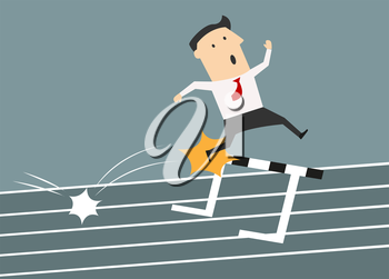 Upset businessman jumping over the hurdle but failed to overcome an obstacle suited for failure or loss business concept design