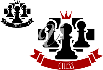 Black chess pawns on chessboard with red crown and ribbon banner with text Chess for sporting tournament badge or emblem design