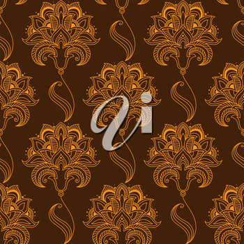 Oriental stylized orange flourish seamless pattern on brown background with luxuriant paisley flowers, carved drop shaped pointed petals and oblique sepals for textile or lace embellishment design