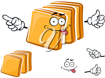 Happy cartoon sliced toasts of white bread with a protruding tongue and waving arms with a second plain variant with no face and separate elements
