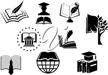 Black and white education or knowledge icons with open books with pens, nibs, quill pens, mortar board hat and a graduate in a cap and gown