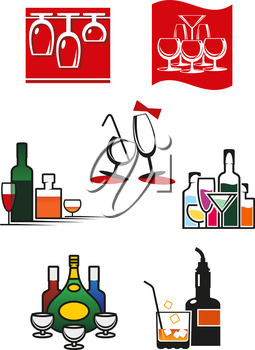 Glasses, wineglasses and alcohol icons or symbols for cafe, bar or restaurant design