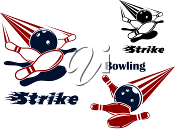 Bowling strike icons or emblems design with bowling balls crashing ninepins in red, blue, black and white colors
