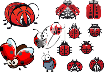 Ladybugs, ladybirds and beetles with happy cartoon flying and crawling beetles, abstract glossy ladybirds icons and modern machinery stylized ladybugs with eight cylinder engines