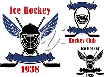 Ice hockey club or team emblems design with crossed hockey sticks, winged goalie masks, supplemented by blank ribbon banners