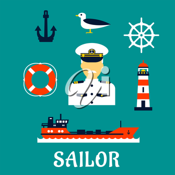 Sailor professionconcept with moustached captain in white uniform with helm, ship, anchor, lifebuoy, lighthouse and seagull icons. Flat style
