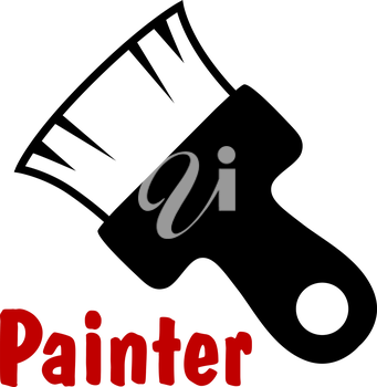 Paintbrush tool icon with short bristle and wooden handle, isolated on white background