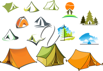 Tourism and camping symbols with tents and nature landscapes with mountains and forest. For travel and adventure design