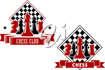 Chess emblems in black and red colors with king, queen, bishop, knight and rook pieces with turned chess board on the background, decorated with ribbon banners and stars