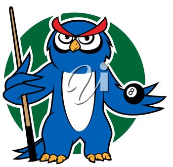Cartoon blue owl player with billiard  ball and cue, for sporting mascot design