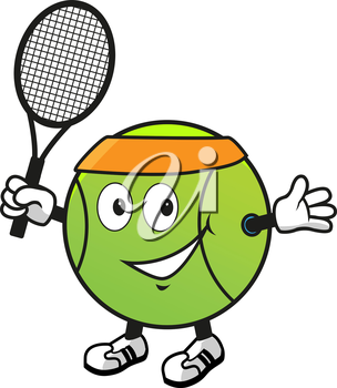 Cartoon smiling green tennis ball character in orange headband with racket in hand for sport design