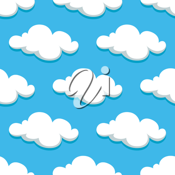 Cartoon white clouds and sky seamless pattern on background. For wallpaper or textile design