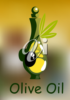 Olive oil bottle with rounded stopper and ripe black olive fruits on green leafy twig, for healthy vegetarian food design