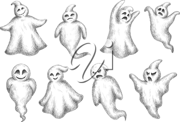 Halloween flying monsters and ghosts in sketch style. For holiday party or invitation design