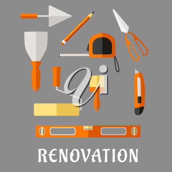 Renovation and construction tools flat icons with pencil, roulette and trowel, spatula, paint roller and brush, scissor, utility knife and spirit level
