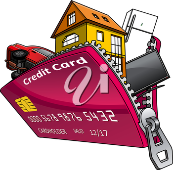 House, car and home appliance inside open red bank credit card with zipper, for consumer credit or home finance concept design