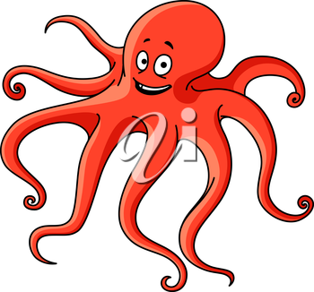 Friendly red ocean octopus cartoon character with long wavy tentacles and happy face. Marine adventure or underwater wildlife theme design