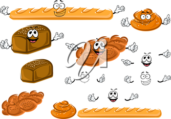 Cartoon fresh french baguette, rye bread loaf, sweet cinnamon roll and plaited bun with poppy seeds. Bakery shop emblem or healthy food design usage