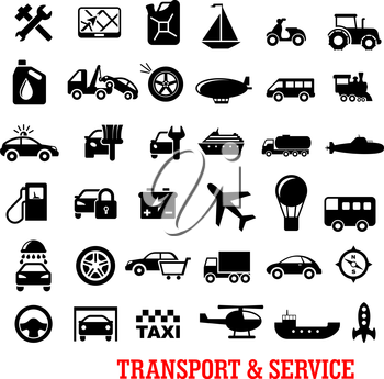 Transportation and car service black flat icons with car, truck, wheel, train, buses, ships, repair, motorcycle, airplane, helicopter, oil, taxi, tire, balloon, sale, wash, tow, sailboat, fuel station