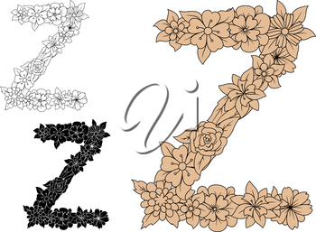 Elegant floral font capital letter Z in pastel brown, colorless and black variations with decorative flowers and foliage. For vintage monogram and initials design