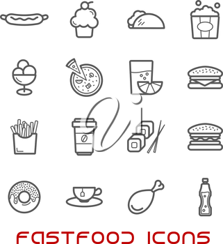 Restaurant and fast food thin line icons with pizza and sausage, burger and coffee cup, cake and chicken, tacho and ice cream, hot dog and french fries, donut and sushi, tea and soda, juice and popcor