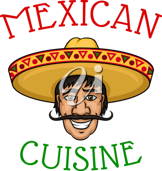 Joyful cartoon mexican chef with mustached male cook in yellow sombrero encircled by caption Mexican Cuisine. For restaurant of mexican cuisine and national food theme