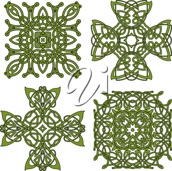 Celtic and irish knot ornamental crosses and patterns with green traditional intricate ornament. For art, tattoo or decoration design