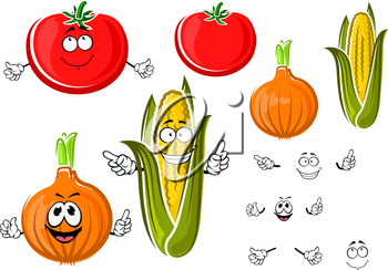 Happy cartoon onion, tomato and corn on the cob vegetables with smiling faces and waving arms. For agriculture or food themes design