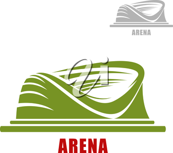 Sport stadium icon of round green arena building with partial roofs, isolated on white background. For sporting themes design