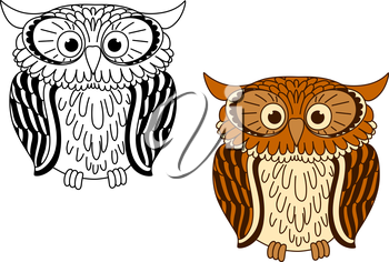 Brown and colorless cartoon owl birds with big eyes, for fairytales or mascot design