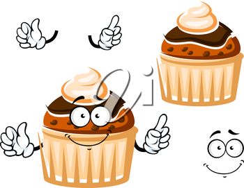 Friendly muffin cartoon character with raisins, topped by chocolate glaze and whipped cream, for dessert or pastry themes
