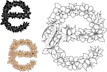 Floral small letter E with lush blooming flowers and curved leaves in outline style, including brown and black color letters