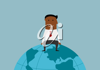 Cartoon happy smiling successful african american businessman sitting on the earth globe, for international business or global market concept design