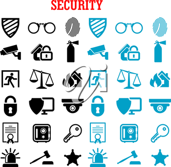 Security and safety flat icons set with web security shields, padlock, key, safe, video surveillance, fire security, patent, justice scales, handcuffs, fingerprint, extinguisher and sheriff star