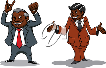 Smiling cartoon african american businessman and manager characters with welcome, victory and success gestures