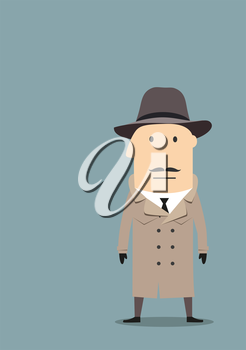 Cartoon mysterious spy, secret agent or detective in trench coat, felt hat and black gloves