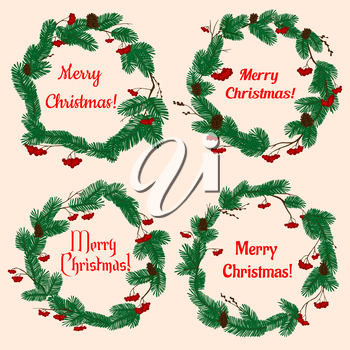 Christmas wreaths with winter holiday decorations with lush green pine, cones, red holly berries and text Merry Christmas