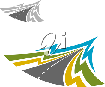 Modern highway road colorful icon with white dividing strips. Transportation or travel usage