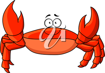 Cheerful smiling cartoon red crab with upward claws. Funny lightfoot red crab character, for underwater or wildlife, childish book or menu design