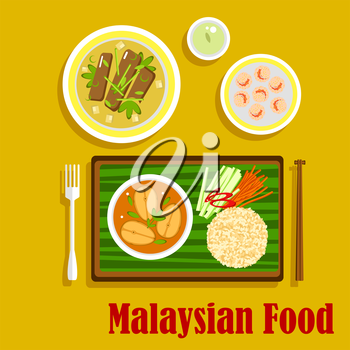 Malaysian cuisine dinner flat icons with nasi lemak rice with cucumber, carrot and pepper sticks and fish curry, served on banana leaf, beef rendang, shrimp with sesame and green tea. Flat vector