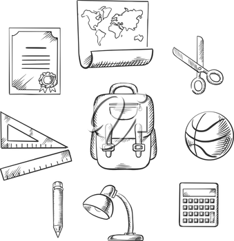 Hand drawn education and school infographic elements with diploma, world map, scissors, ruler, satchel, ball, pencil, lamp and calculator. Vector sketch icons