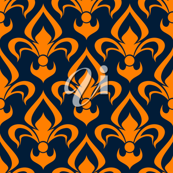 Orange and blue floral seamless pattern. Orange fleur-de-lis flowers on blue background for textile and interior design